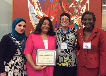 The 2015 Timothy Dow Adams Award winners: (l to r) Zeinab McHeimech, Theresa N. Rojas, presenter Ricia Anne Chansky, & Lisa R. Brown. Not pictured Luis Adolfo Gómez González.